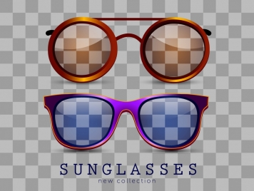 sunglasses icons stylish colored design