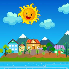 sunshine on town drawing colorful cartoon stylized icon