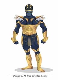 super hero icon metallic armor decor modern design