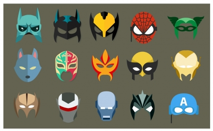 super hero masks vector illustration in flat style