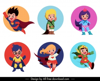 super kids icons cute cartoon characters sketch