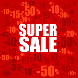 super sale banner with percent discount pattern background