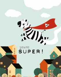 super zebra drawing funny cartoon design