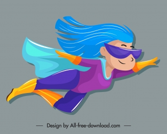 superwoman icon cute cartoon character flying sketch