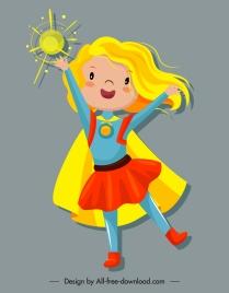 superwoman icon magic kid sketch cartoon character