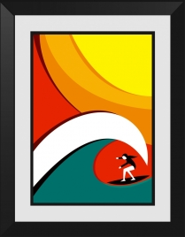 surfer drawing colorful curves decoration