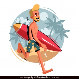surfer icon colored cartoon character sketch