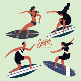 surfer icons collection colored cartoon design