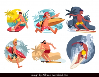surfer icons collection colored cartoon dynamic sketch