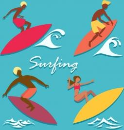 surfer icons colored cartoon design
