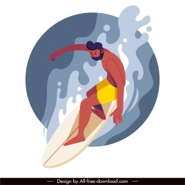 surfing activity painting dynamic design cartoon character