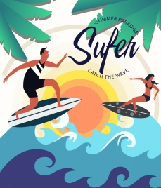 surfing club advertisement surfer waves coconut icons