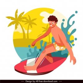 surfing sport icon funny cartoon sketch