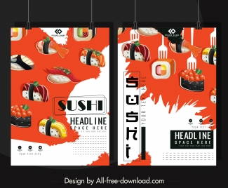 sushi advertising banners colorful food icons decor