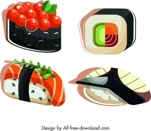 sushi cuisines icons colorful 3d sketch