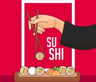 sushi food advertising oriental design chopsticks hand icons