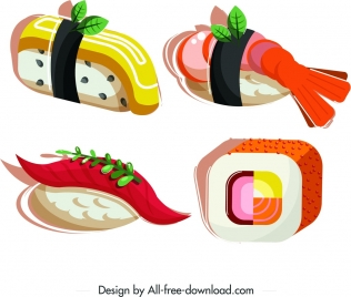 sushi food icons shrimp egg salmon squared design