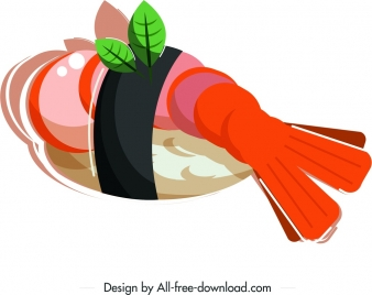 sushi meal icon shrimp decor colored classical 3d