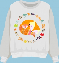 sweater shirt template wild fox icons flowers decoration