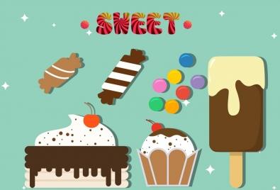 sweet food design elements cream candies cakes icons