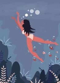 swimming background bikini woman fish icons colored cartoon