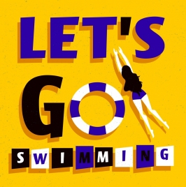 swimming banner bikini woman buoy icons texts decor