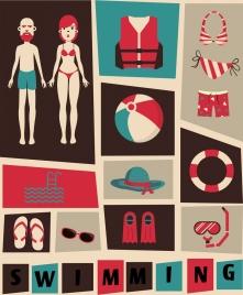 swimming design elements dark design various colored symbols