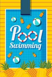 swimming pool background ball pineapple icons decor