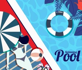 swimming pool background bikini girl umbrella buoy icons
