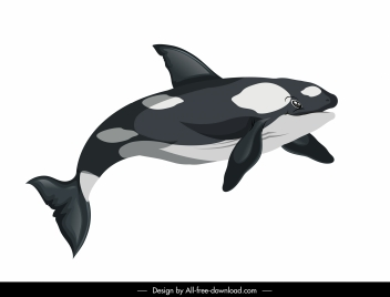 swimming whale icon colored cartoon sketch