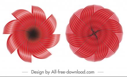 swirled petals icons shiny modern red symmetric illusion