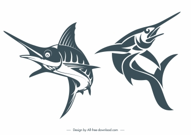 swordfish icons classic handdrawn sketch motion design