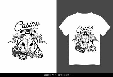 t shirt decor template bull skull dices sketch
