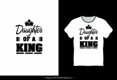 t shirt template black white texts crown decor