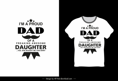 t shirt template dad daughter theme texts decor