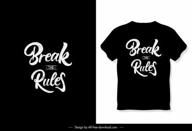 t shirt template dark black design texts decor