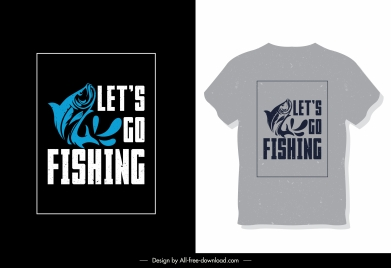 t shirt template fish icon texts decor