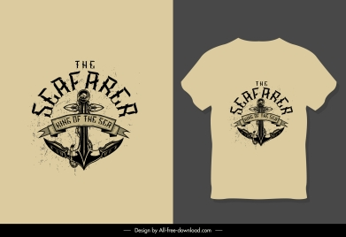 t shirt template retro anchor decor