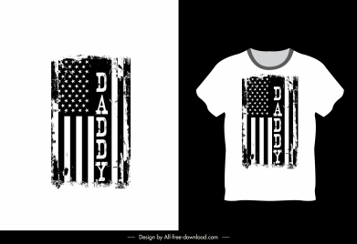 t shirt template usa flag sketch black white grunge
