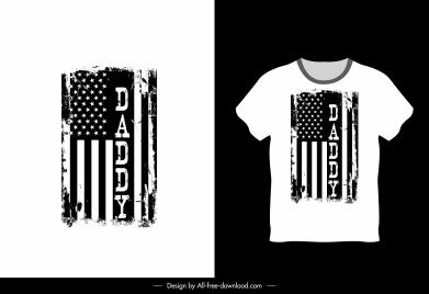 t shirt template usa flag sketch black white grunge