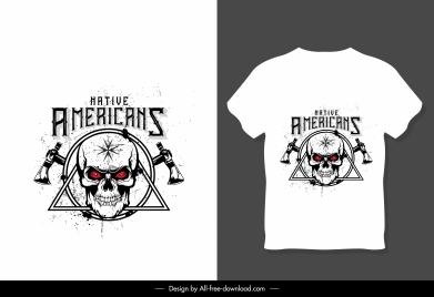 t shirt template white symmetric design skull decor