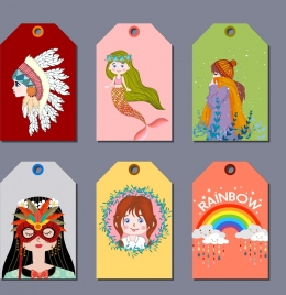 tag templates girl rainbow tribe mermaid mask icons