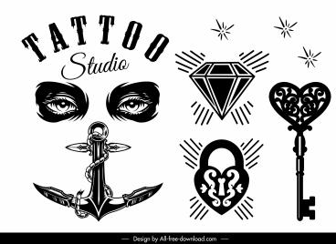 tattoo decor elements black white vintage shapes