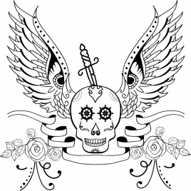 tattoo icon sketch skull wings sword decoration