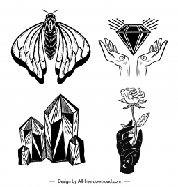 tattoo icons black white insect diamond rose sketch