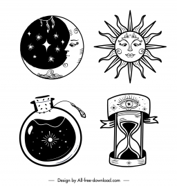 tattoo icons flat moon sun sandglass bottle sketch