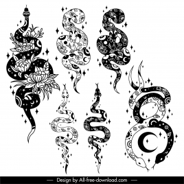 tattoo snakes icons flat classical sketch