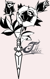 tattoo template roses sword decor classical sketch