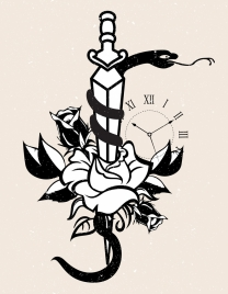tattoo template snake sword rose clock icons