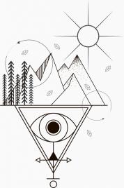 tattoo template sun mountain eye sketch tribal geometry